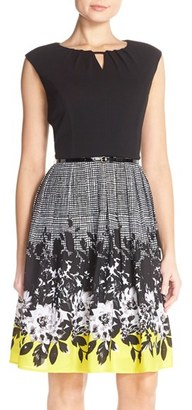 Ellen Tracy Belted Floral Fit & Flare Cap Sleeve Dress $128 thestylecure.com