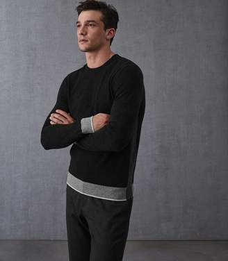 Reiss Our last order date for Christmas has now passed MORTON COLOUR BLOCK CREW NECK JUMPER Charcoal