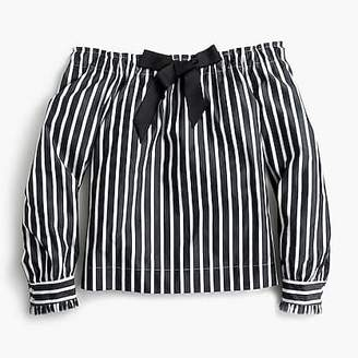 J.Crew Off-the-shoulder striped top with bow