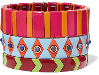 Roxanne Assoulin - Drawing Room Set Of Three Enamel Bracelets - Fuchsia