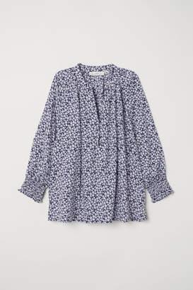 H&M V-neck Modal Blouse - Blue