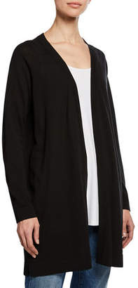Eileen Fisher Open-Front Long Stretch-Knit Cardigan, Plus Size