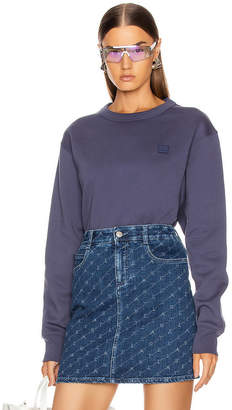 Acne Studios Fairview Face Sweatshirt in Denim Blue | FWRD