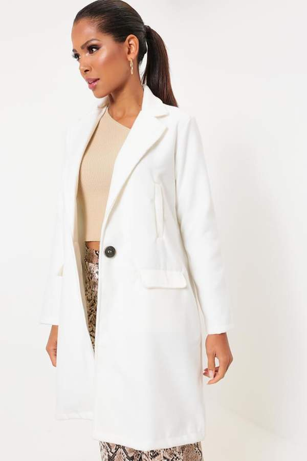 Isawitfirst Cream Button Front Boyfriend Coat