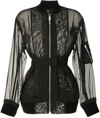 mesh zip front jacket