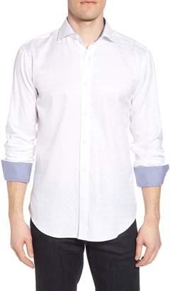 Bugatchi Shaped Fit Tonal Check Sport Shirt