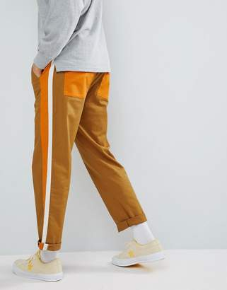 Asos Design Skater Cropped Pants In Tan With Double Side Stripe & Elasticated Waist