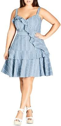 City Chic Plus Summer Ruffle Stripe Dress