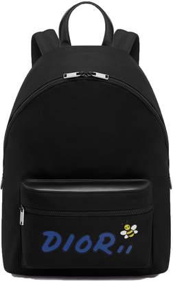 Christian Dior Rider Backpack x Kaws With Blue Logo Nylon Black