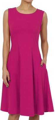 TheMogan Women's Sleeveless Pocket Stretch Cotton Fit & Flare Dress XL