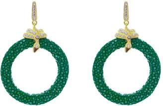 Latelita London - Stingray Medium Hoop Earring Emerald Green