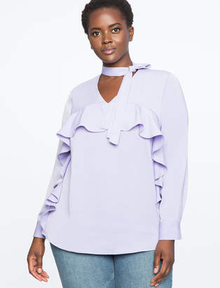 V-Neck Bow Blouse with Cascading Ruffle
