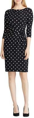 Ralph Lauren Polka Dot Jersey Cowl-Neck Dress