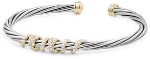 David Yurman Helena Center Station Bracelet With Diamonds And 18K
