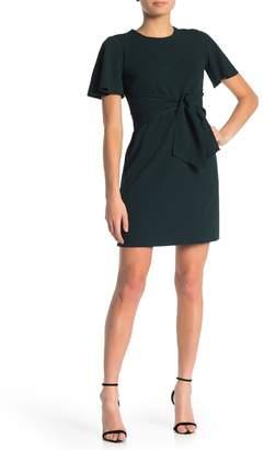 Donna Morgan Short Sleeve Tie Front Crepe Dress