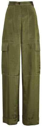 Sonia Rykiel Pinstriped Wide Leg Satin Pants