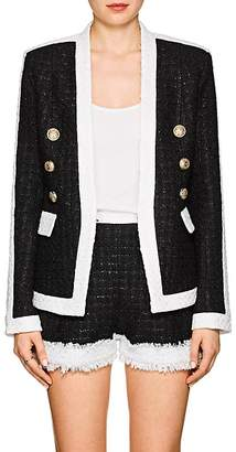 Balmain Women's Fringed Tweed Collarless Jacket