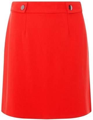 Dorothy Perkins Womens Red Side Popper Mini Skirt