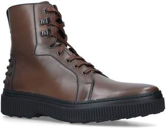 Tod's Leather Lace Up Ankle Boots