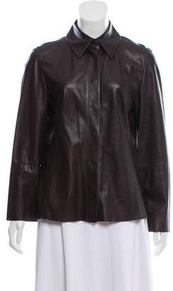 Max Mara Leather Button-Up Top