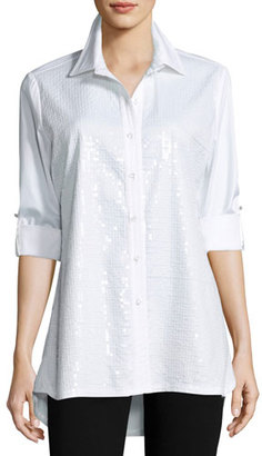 Berek Sequined-Front Easy Shirt, Plus Size $168 thestylecure.com