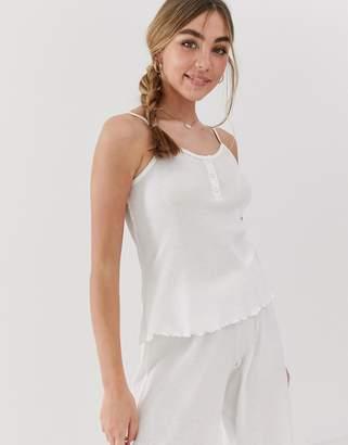 Asos Design DESIGN popper waffle pyjama cami top