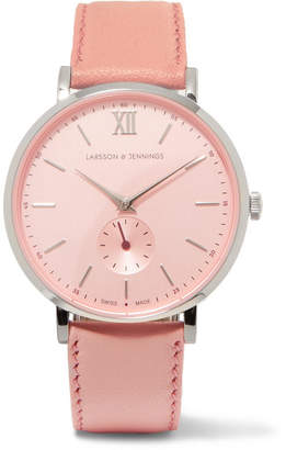 Larsson & Jennings Lugano Ii Leather And Stainless Steel Watch - Pink