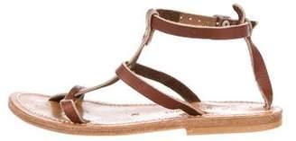 K Jacques St Tropez Leather T-Strap Sandals