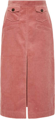 ALEXACHUNG Corduroy Midi Skirt