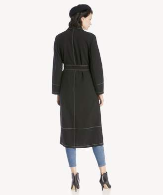 Sole Society Notch Collar Bi Stretch Crepe Trench Coat