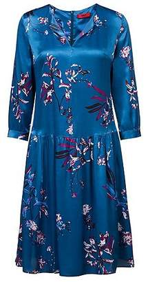 HUGO BOSS Silky floral-print dress with three-quarter sleeves