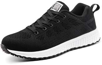 YVWTUC Womens Casual Running Shoes Lightweight Breathable Flat Shoes Sporting Mesh and Leather Sneakers