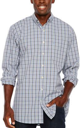 Izod Tall Slim Premium Essential Woven Plaid Long Sleeve