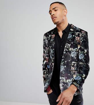Asos Tall Super Skinny Blazer In Black Velvet Pastel Floral Print