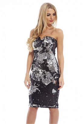 AX Paris Two Colour Way Sequin Strapless Notch Dress