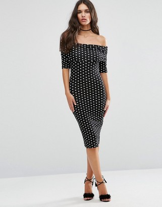 ASOS Midi Bardot Off Shoulder Bodycon Dress With 3/4 Sleeve in Polka Dot $38 thestylecure.com