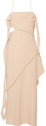 Jonathan Simkhai - Faux Pearl-embellished Cutout Crepe Midi Dress - Beige $995 thestylecure.com