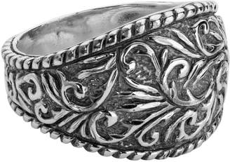 American West Sterling Diamond-Cut Scroll Ring