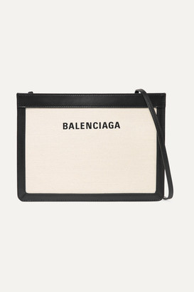 Balenciaga Leather-trimmed Canvas Shoulder Bag - White