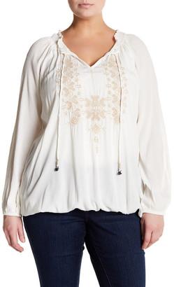 Jessica Simpson Long Sleeve Front Tie Blouse (Plus Size) $69.50 thestylecure.com