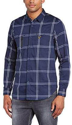 Voi Jeans Men's Chest Checkered Button Front Long Sleeve Casual Shirt