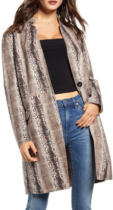 Blank NYC BLANKNYC Snake Print Long Faux Leather Coat