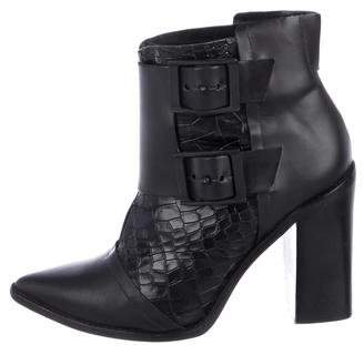 Tibi Embossed Pointed-Toe Boots
