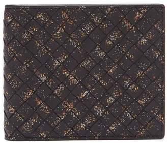 Bottega Veneta - Bi Fold Splatter Print Intrecciato Wallet - Mens - Black Multi