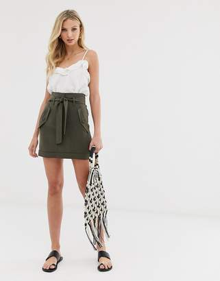 Asos Design DESIGN skirt with pocket detail and tie waist