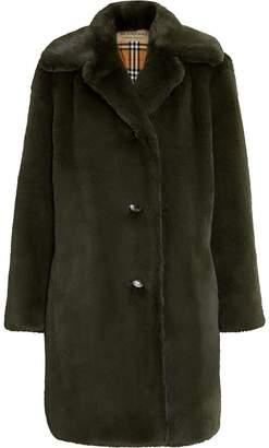 Burberry faux fur midi coat