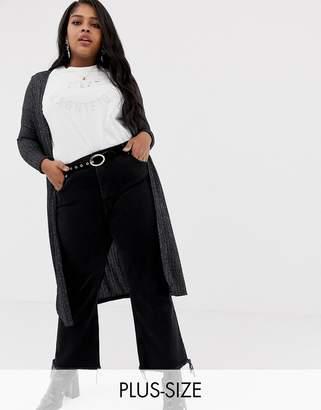 New Look Plus Curve midi cardigan in black pattern