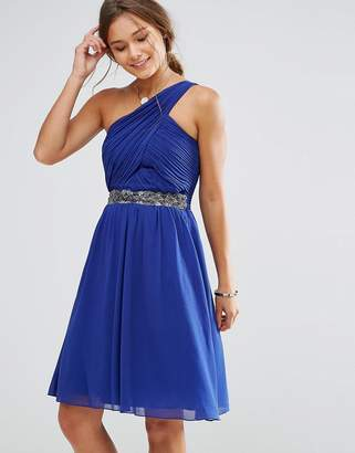 Little Mistress One Shoulder Skater Dress With Embellished Waist Line