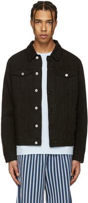 MSGM Black Denim Logo Jacket $390 thestylecure.com