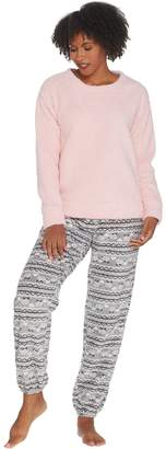 Muk Luks Faux Sherpa Top and Fleece Jogger Pant PJ Set